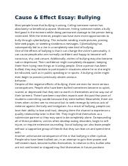 Bullying essay cause effect essay bullying most people know that
