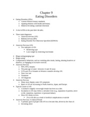 CH 9 Notes: Eating Disorders