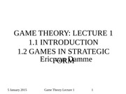 Game Theory 2015 Lecture 1 Part 1