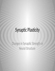 Lecture 32 2016 - Synaptic Plasticity(1).pptx