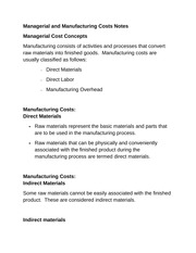 Managerial and Manufacturing Costs Notes