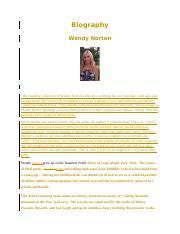 Wendy Norton bio 2016