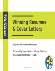 Resume & Cover Letters PPT RC amended Fall 16.pptx