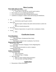 Motor Learning Exam I Study Guide