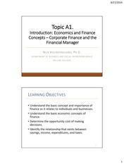 Economic & Financial Concepts