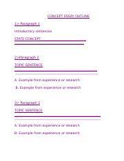 Concept topics for an essay