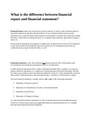 What is the difference between financial report and financial statement