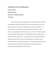 Intro to Myth final essay Paragraph