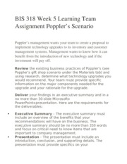 BIS 318 Week 5 Learning Team Assignment Poppler's Scenario