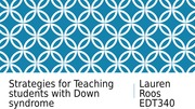 Strategies for Teaching students with Down syndrome