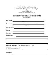 NCA&T Student Info Form