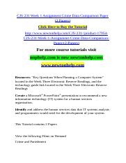 CJS 231 Week 1 Assignment Crime Data Comparison Paper (2 Papers).doc