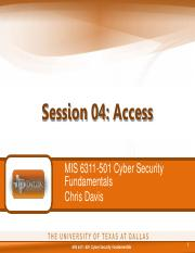 MIS 6311-501 Session 04 - Access
