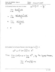Math 121 Quiz 2 Version 2 Solutions