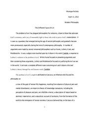 The Different Faces of Evil- Modern Philosophy Paper