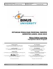 Semester Ganjil 2018 Bol Petunjuk Penulisan Proposal Skripsi Jurusan Manajemen 2 Pdf Petunjuk Penulisan Proposal Management Program U2013 Binus Online Course Hero