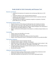 Study Guide for Unit 4 Immunity and Diseases Test