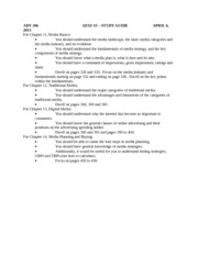 ADV 206 Study Guide for Quiz #3