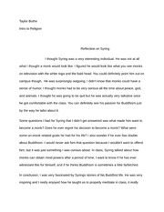 Reflection Essay on Monk