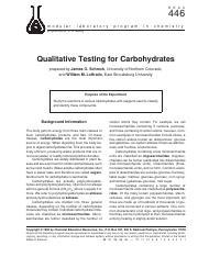 qualitative test for carbohydrates pdf