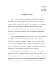 tweed lord of the flies essay