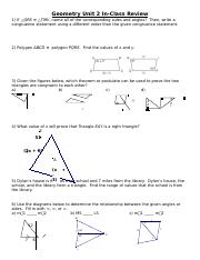 Unit 2 Review In-Class Review KEY