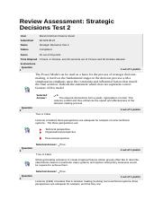 Strategic Decisions - Test 2