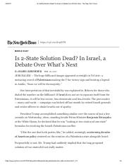 Isabel Kershner-is a two state solution dead in israel a debate over whats next-Feb 2017