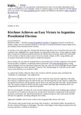 Argentina - 2011-10 NYT Kirchner Easily Wins Election to Second Term in Argentina