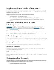 Implementing a code of conduct.docx