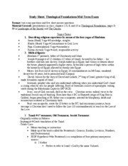 Study Sheet for Midterm Theological Foundations 2008