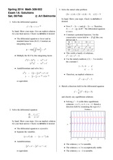 Exam 1 Version A on Differential Equations