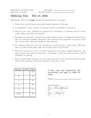 Math 103- Midterm Exam 1- 2005 (Section 203)
