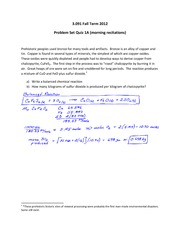 Quiz A on Problem Set 1 Solution on Solid-State Chemistry