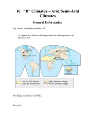 Arid:Semi-Arid Climates Notes