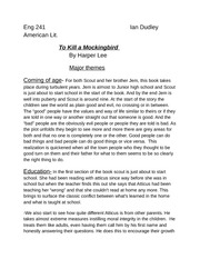To kill a mockingbird themes essay introduction