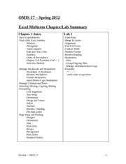 OMIS 17 - Excel Midterm Review
