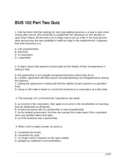 BUS 102 Part Two Quiz 21957
