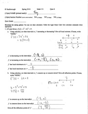 Quiz 8 Key on Mathematical Calculus