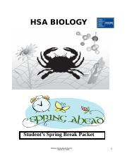 2013 HSA Biology Spring Break Packet Student