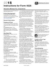 Instructions 4626 2015 Department Of The Treasury Internal