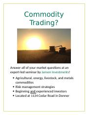 Commodity Trading flyer