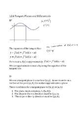 Tangent Planes and Differentials notes