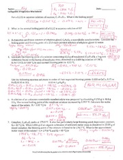 Colligative Properties Worksheet - Key -