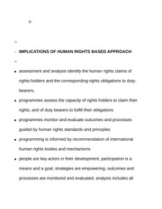 Implications of human rights based approach