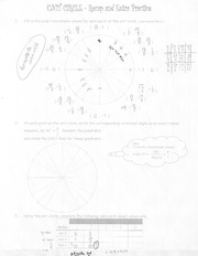 The Unit Circle Recap And Extra Practice Homework For MHF 4U0
