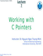 Lecture 7-Working with Pointers