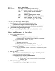 Lecture Notes - Men and Power - a Paradox