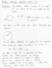 Radian Angle Notes