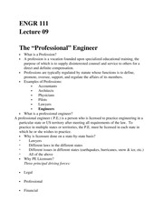 ENGR 111 Professional Engineer Notes